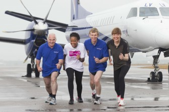 EASTERN AIRWAYS CHARITY RUN ON ABERDEEN AIRPORT RUNWAY SEPTEMBER 2013