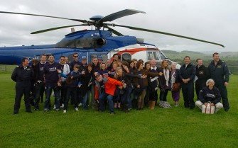 Grampian Fayre was held on Saturady at the B.A.Store at Lyne of Skene, Aberdeenshire. The cast of Emmerdale attended and arrived by helicopters courtesy of Bristows. The cast pose in front of the helicopter. Photograph by Tim Allen. 12/6/2010