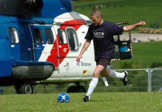 Grampian Fayre was held on Saturady at the B.A.Store at Lyne of Skene, Aberdeenshire. The cast of Emmerdale attended and arrived by helicopters courtesy of Bristows. Danny Miller and some of the other Emmerdale boys have a wee kick around before playing some local teams in a small 5-a-side game. Photograph by Tim Allen. 12/6/2010