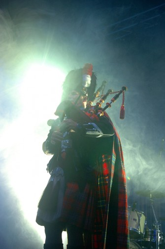 JAMIESON AND CARRY, at the Oil Baron's Ball, in the Press and Journal arena, Aberdeen Exhibition and Conference centre, Aberdeen. The piper on stage.