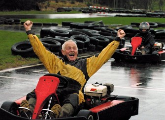 Emmerdale actor Chris Chittell (Eric Pollard) races for the Anthony Nolan charity at Deeside Activity Park, near Aboyne. Pic Jim Irvine 27/11/2004