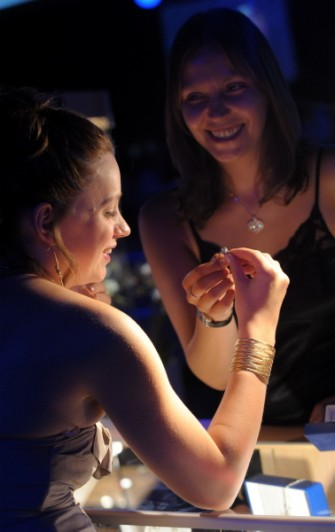 ENERGY BALL 2008 - (from left) Robyn Petersen is shown a ring by Jamieson and Carry's Tracy Will at the Energy Ball 2008, AECC. Picture by KEVIN EMSLIE .